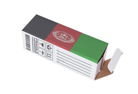 adress: Concept of export, opened paper box - Product of Afghanistan