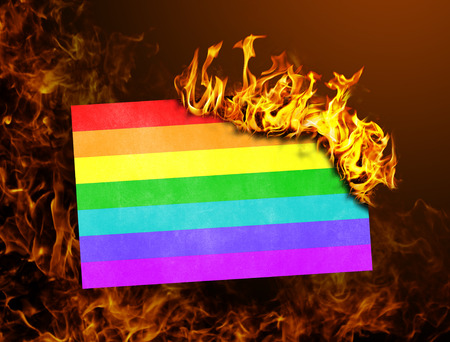 black lesbian: Flag burning - concept of war or crisis - Rainbow flag