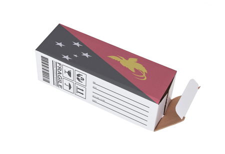 papua new guinea: Concept of export, opened paper box - Product of Papua New Guinea Stock Photo