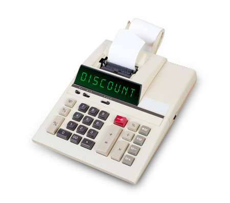 equals: Old calculator showing a text on display - discount