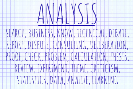 deliberation: Analysis word cloud written on a piece of paper