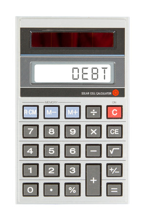 issuer: Old calculator showing a text on display - debit