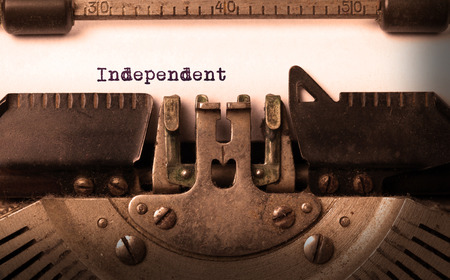independency: Vintage inscription made by old typewriter, independent Stock Photo