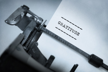 gracefully: Close-up of a vintage typewriter, old and rusty, gratitude Stock Photo