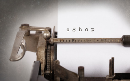 eshop: Close-up of an old typewriter with paper, eShop