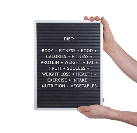 vintage look: Diet concept in plastic letters on very old menu board, vintage look Stock Photo