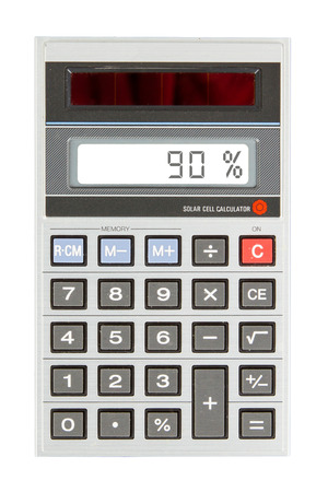 sign equals: Old calculator with digital display showing a percentage - 90 percent Stock Photo