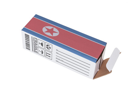 north korea: Concept of export, opened paper box - Product of North Korea