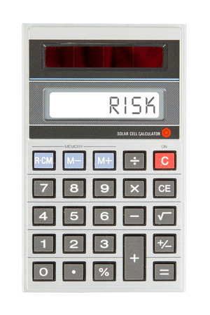 negative returns: Old calculator showing a text on display - risk