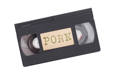 porno: Retro videocassetta isolato su uno sfondo bianco - Porn Archivio Fotografico