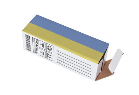 adress: Concept of export, opened paper box - Product of the Netherlands