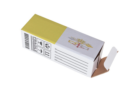 Concept of export, opened paper box - Product of Vatican City photo