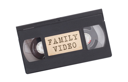 Retro videotape isolated on a white background - Family video