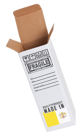 ciudad del vaticano: Concepto de exportaci�n, abri� la caja de papel - Producto de la Ciudad del Vaticano Foto de archivo