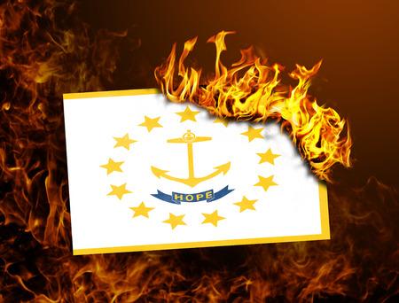 Flag burning - concept of war or crisis - Rhode Island photo