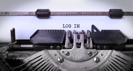 log in: Vintage inscription made by old typewriter, log in