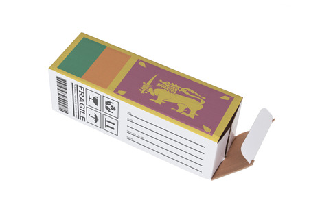sri lankan flag: Concept of export, opened paper box - Product of Sri Lanka