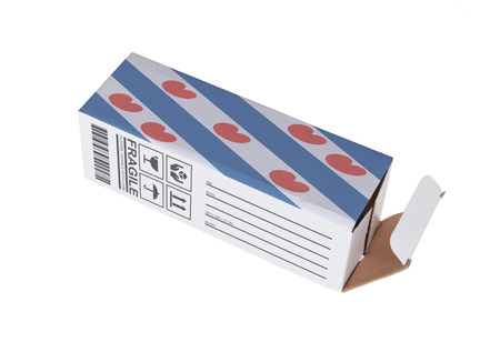 adress: Concept of export, opened paper box - Product of Fryslan