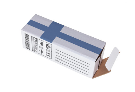 adress: Concept of export, opened paper box - Product of Finland Stock Photo