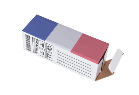 adress: Concept of export, opened paper box - Product of France Stock Photo