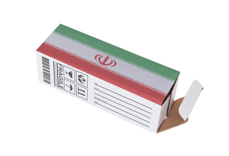 adress: Concept of export, opened paper box - Product of Iran Stock Photo