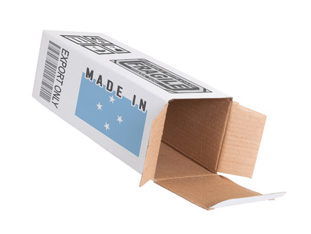 micronesia: Concept of export, opened paper box - Product of Micronesia