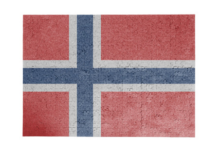 Large jigsaw puzzle of 1000 pieces - Norway flag Stock Photo
