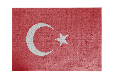 linkages: Large jigsaw puzzle of 1000 pieces - Turkey flag Stock Photo