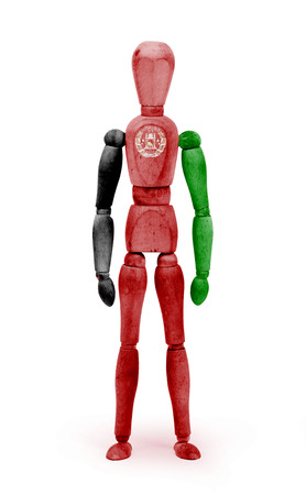 bodypaint: Wood figure mannequin with flag bodypaint on white background - Afghanistan