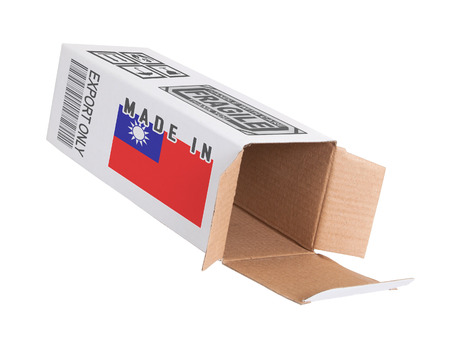 oversea: Concept of export, opened paper box - Product of Taiwan Stock Photo