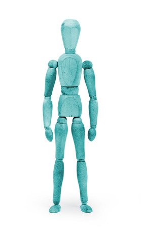 body paint: Madera figura maniqu� con pintura corporal azul sobre fondo blanco Foto de archivo