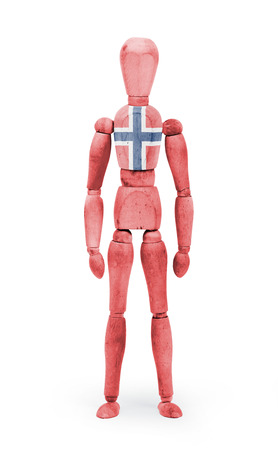 body paint: Wood figure mannequin with Norway flag body paint on white background Stock Photo