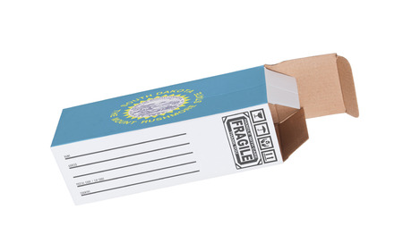 south dakota: Concept of export, opened paper box - Product of South Dakota Stock Photo