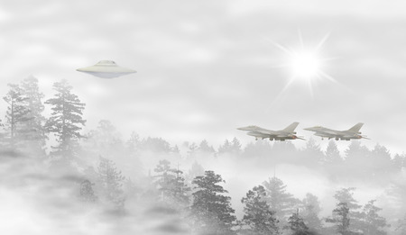 misty forest: UFO in a landscape of misty forest at sunrise, fighter jets taking off
