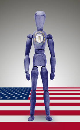 bodypaint: Old wood figure mannequin with US state flag bodypaint - Kentucky