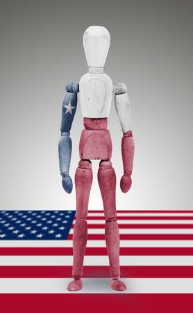 body paint: Antigua figura de madera de maniqu� con los Estados Unidos de Texas Estado pintura corporal bandera