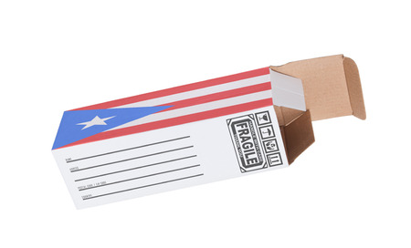puerto rico: Concept of export, opened paper box - Product of Puerto Rico Stock Photo