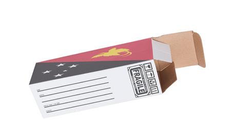 Nuova Guinea: Concetto di esportazione, ha aperto la scatola di carta - Prodotto di Papua Nuova Guinea