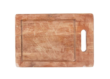 chopping board: Used wooden chopping board isolated on white background Stock Photo