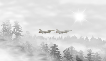 misty forest: Landscape of misty forest at sunrise with fighter jets taking off Stock Photo