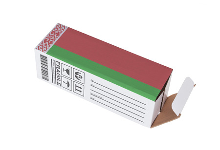 adress: Concept of export, opened paper box - Product of Belarus