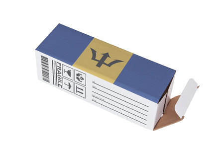 adress: Concept of export, opened paper box - Product of Barbados