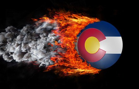 colorado flag: Concept of speed - Flag with a trail of fire and smoke - Colorado