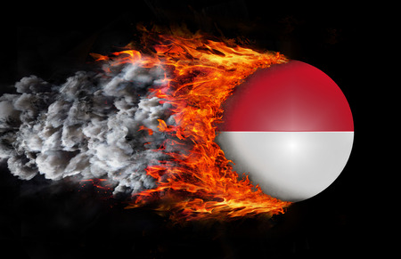 indonesia culture: Concept of speed - Indonesia Flag with a trail of fire and smoke