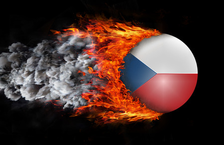 czech republic flag: Concept of speed - Czech Republic Flag with a trail of fire and smoke
