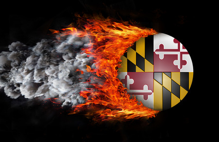 maryland flag: Concept of speed - Maryland Flag with a trail of fire and smoke