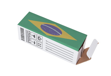 adress: Concept of export, opened paper box - Product of Brazil