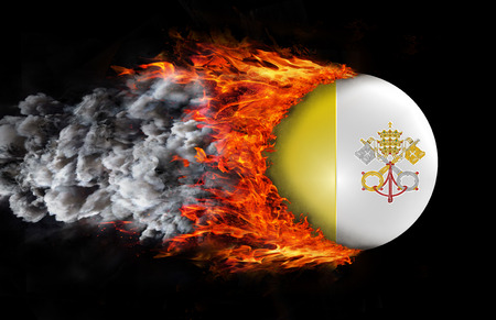 Concept of speed - Vatican City Flag with a trail of fire and smoke