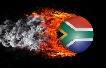 south africa flag: Concept of speed - South Africa Flag with a trail of fire and smoke