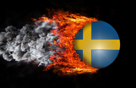 sweden flag: Concept of speed - Sweden Flag with a trail of fire and smoke